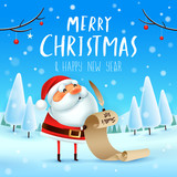 Merry Christmas! Santa Claus is holding a long checking list in Christmas snow scene. Winter landscape. - 182268462