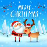 Merry Christmas! Santa Claus and Reindeer in Christmas snow scene. Winter landscape. - 182268475