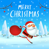 Merry Christmas! Santa Claus carrying sack with full of gifts in Christmas snow scene. Winter landscape. - 182268484