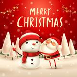Merry Christmas! Santa Claus makes a Snowman in Christmas snow scene. Winter landscape. - 182269218