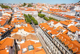Cityscape view on the old town with Rossio square during the sunny day in Lisbon city, Portugal - 182269446