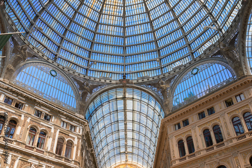 Fotobehang Napels Galleria Umberto I, public shopping roofed street of XIXc. in Naples, Italy
