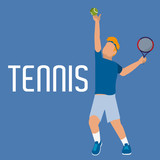 man play tennis with uniform and racket with ball