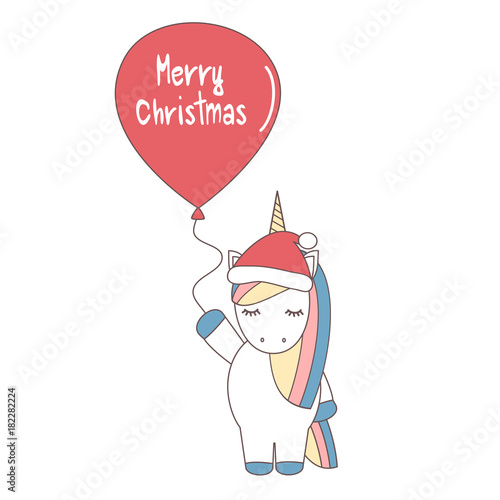 cute cartoon vector unicorn with santa 's hat and balloon with merry christmas text