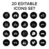 Set of 20 bike filled and outline icons