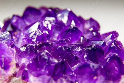 macro shot of crystals of violet amethyst - 182287884