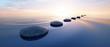 Leinwanddruck Bild - Steine im See bei Sonnenuntergang