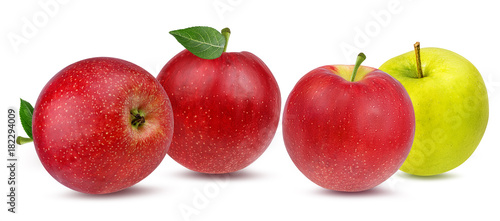 Foto op Canvas Verse groenten Fresh apple isolated on white background with clipping path
