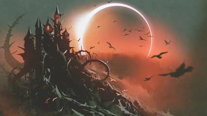 scenery of castle of thorn with solar eclipse in dark red sky, digital art style, illustration painting © grandfailure