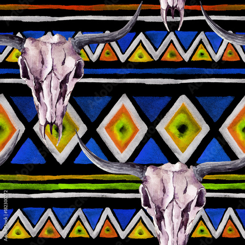 Tribal pattern - animal skull. Seamless background with trendy tribal design. Watercolor - 182300272