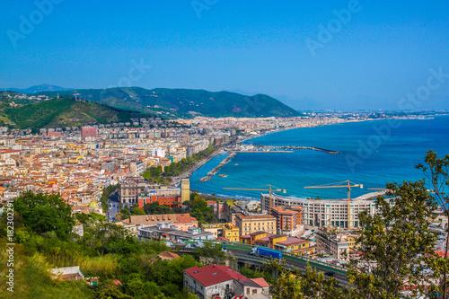 Plexiglas Schip Aerial view of Salerno. Italy