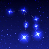 The Constellation Of The Altar in the night starry sky. Vector illustration of the concept of astronomy.