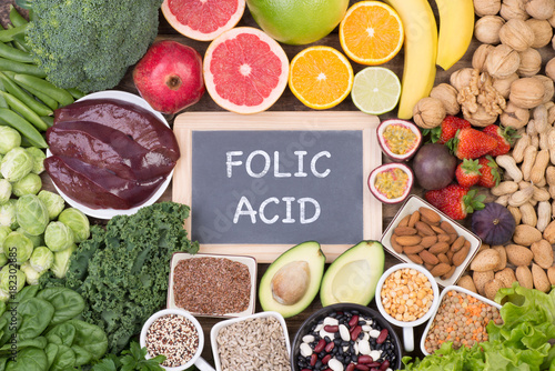 Folic acid food sources, top view
