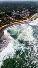 coast line with coral reefs aerial shot