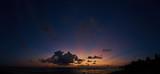 panoramic view of beautiful sunset over ocean beach