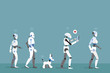 Robots Walking with Turquoise Background