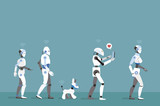 Robots Walking with Turquoise Background - 182312419
