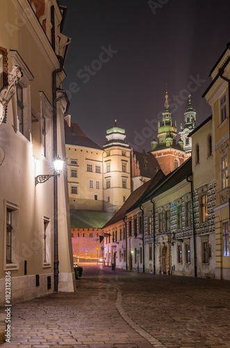 Wawel castle and Kanonicza street in Krakow, illuminated in the night © tomeyk