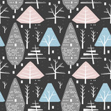 Winter seamless pattern of different trees and bushes
