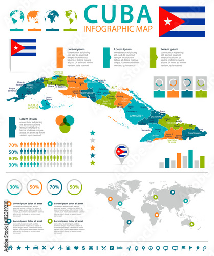 Cuba - infographic map and flag - Detailed Vector Illustration