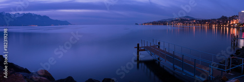 Wall mural Panorama of  Montreux at night