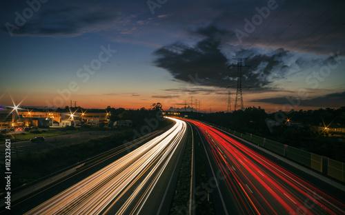Foto op Aluminium Nacht snelweg Runway Rush