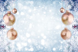 Christmas background with golden ornaments and falling snow  - 182326423