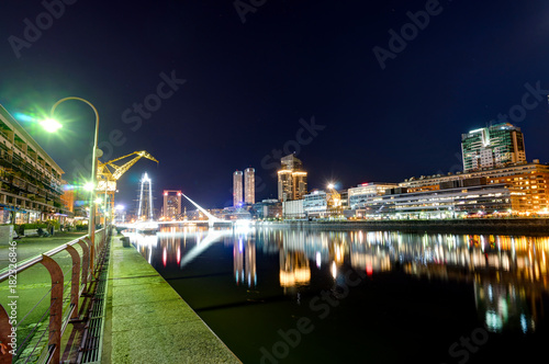 Fotobehang Buenos Aires Night View Harbour Puerto Madero district in Buenos Aires Argent
