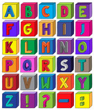 Colorful 3D alphabet blocks from letter A to Z in A4 Sheet
