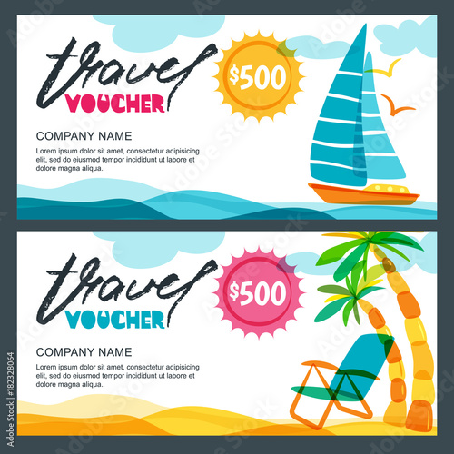 Vector gift travel voucher template. Tropical island, yacht, sailing boat and palms illustration. Concept for summer vacation and travel agency. Banner, coupon, certificate or flyer layout.