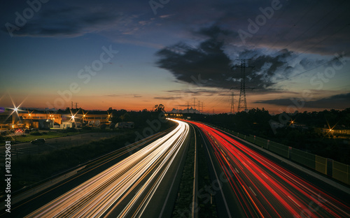 Poster Nacht snelweg Rush