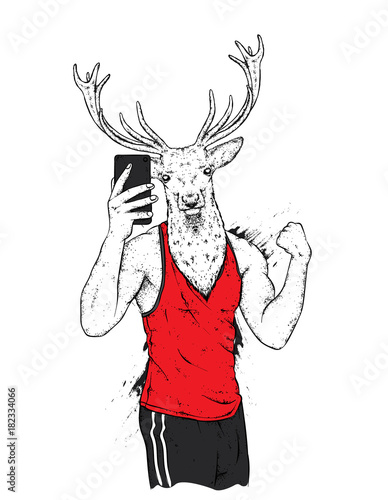 Fotobehang Hipster Hert A deer with a beautiful male body. The sports guy strained his biceps doing selfie. Vector illustration for a postcard or a poster, print for clothes. Sports, clothing and accessories.