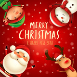 Merry Christmas! Happy Christmas companions. Santa Claus, Snowman, Reindeer and Elf in Christmas snow scene. - 182334454