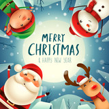 Merry Christmas! Happy Christmas companions in the moonlight. Merry Christmas! Happy Christmas companions in the moonlight. Santa Claus, Snowman, Reindeer and Elf in Christmas snow scene.  - 182334455