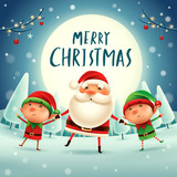 Merry Christmas! Santa Claus and Elves holding hands in the moonlight. Winter landscape. - 182334648