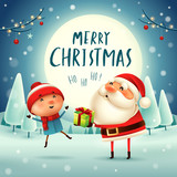 Merry Christmas! Santa Claus giving present to a kid in the moonlight. Winter landscape. - 182334656