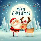 Merry Christmas! Santa Claus and Reindeer in the moonlight. Winter landscape. - 182334667