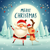 Merry Christmas! Santa Claus and Reindeer in the moonlight. Winter landscape. - 182334673