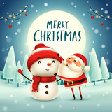 Merry Christmas! Santa Claus makes a Snowman in the moonlight. Winter landscape. - 182334679