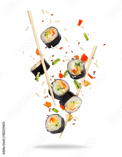 Foto op Canvas Sushi bar Pieces of sushi frozen in the air on white background