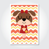 Cute puppy on chevron background vector cartoon illustration for Chinese New Year card design, nursery wall, and postcard