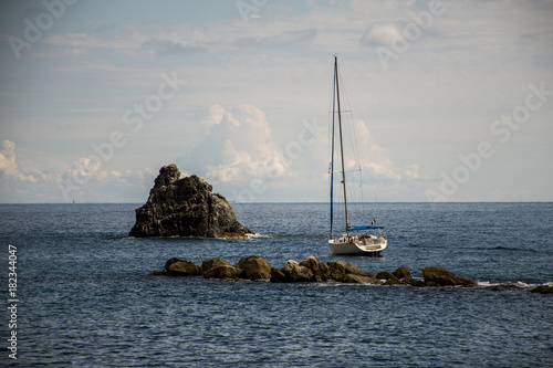 Foto op Canvas Liguria View on sailing boat Italy Tuscany cinque terre