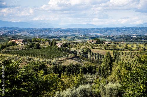 Plexiglas Wijngaard Wineyard in Italy Toscany Chianti Region Panorama