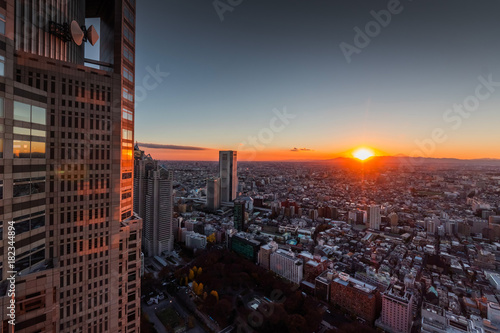 In de dag Tokio 東京新宿からの美しい日の入り Japan Shinjuku beautiful sunset