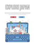 Explore Japan poster with famous architectural attractions in open suitcase. Worldwide traveling and time to travel vector in linear style. Japanese national landmarks, world tourism and journey - 182345671