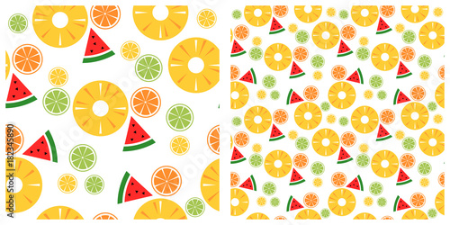 Fototapeta Colorful tropical fruits seamless pattern
