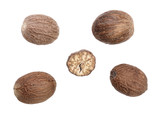Nutmeg isolated on white background. Top view - 182346489