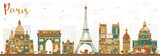 Paris France Skyline with Color Landmarks. - 182347222