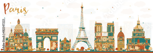 Paris France Skyline with Color Landmarks.