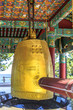 Yangyang, Gangwon-do, South Korea - Hyuhyuam's  golden temple bell and fish gong.